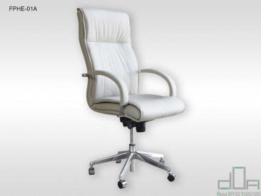 Fotoliu prezidențial Hermes, ergonomic, pivotant, alb