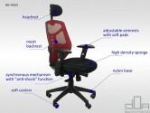 Scaun de birou ergonomic, rotativ KB-8905 roșu